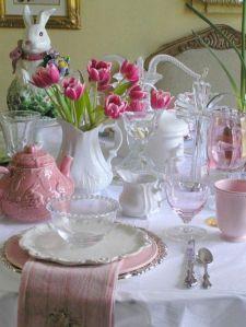 Mesa branca e rosa