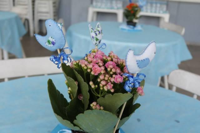 Centro de mesa chá de bebê passarinhos