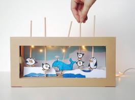 Mini teatro de caixa de sapatos